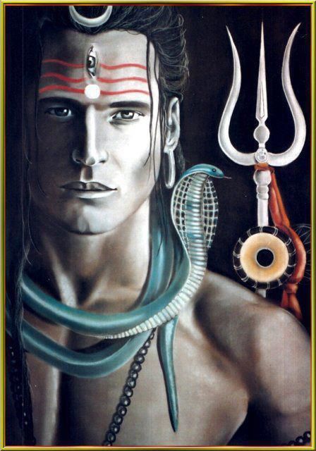 Shiva is depicted three-eyed, the crescent moon in his long matted hair, wearing ornaments of serpents and a skull bracelet, and covered in ashes. He carries the Trisula (trident) and Damaru (drum).
