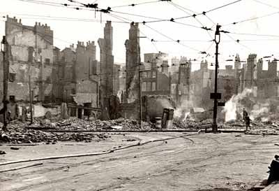 Damage to the area around Lord St. and Castle St. after the blitz in 1941