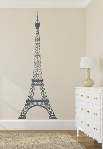 Eiffel Tower Decal Wall Decal Decor Vinyl Stickers Large 22'Wx60H' $35.85 different colors to choose from including metalic gold