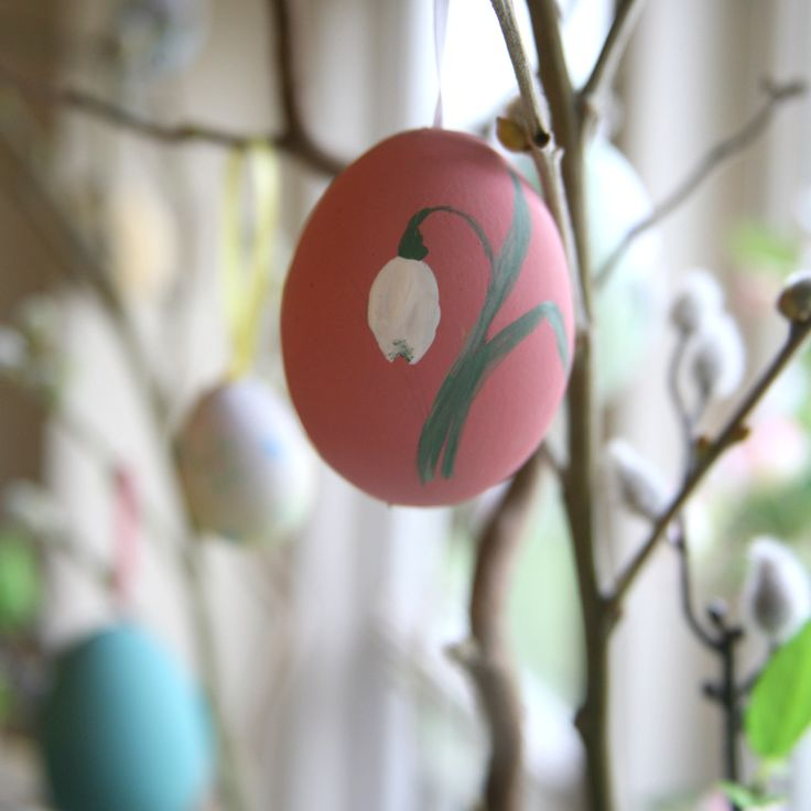 Step 6 - My finished snowdrop painted blown egg hanging on my Spring tree.