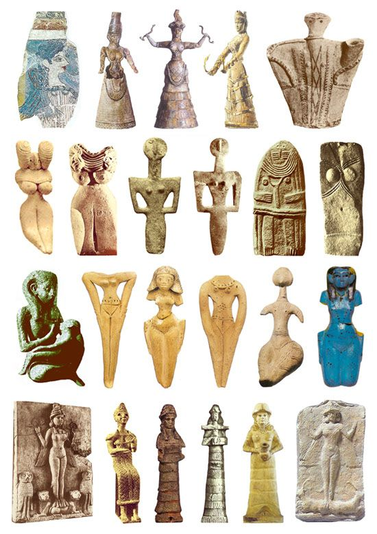 Goddess sculptures 2200-1600 BCE. e middle three images of the top row show three versions of the Late-Minoan figure usually called theSnake Goddess. There are some doubts, however, whether or not these may rather be depictions of the High-Priestess at the palace of Knossos. Even if this is correct, the priestess was seen as a representative of the deity, so the image is a sacred one in any case.