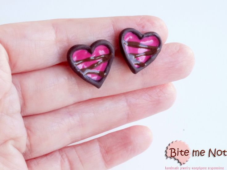 Chocolate-Strawberry heart cookies Silver plated stud earrings,heart shaped biscuits with strawberry and chocolate ,made from polymer clay. -wearable collectable food miniatures!