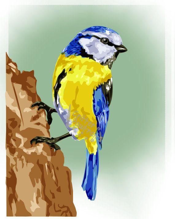 Critter Pawtraits British Wildlife Blue Tit Bird Digital Illustration Print in a Cream Mount Multiple Sizes Available