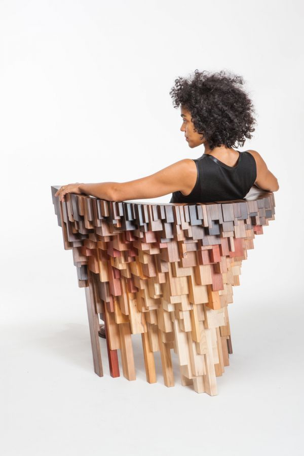 One Off Chair Made From 18 Different Species Of Tree.