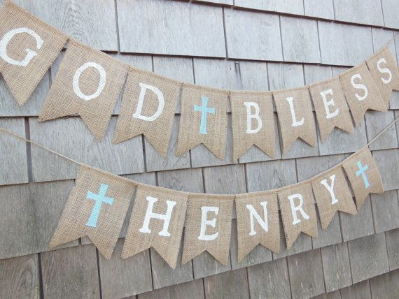 First Communion Banner, Custom Personalized Baptism Banner Garland, God Bless Bunting, First Communion Burlap Garland, Baptism Burlap Banner