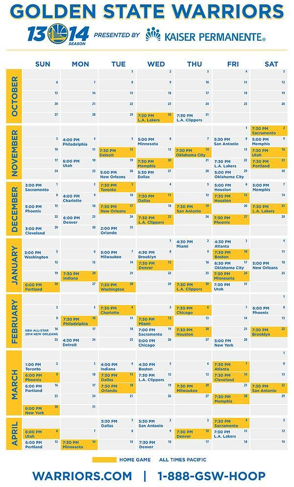 2013-14 Schedule (PDF) has been released! #dubnation #goldenstateofmind #goldenstatewarriors