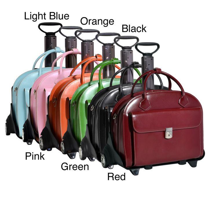 McKlein Glen Ellyn Leather Detachable-wheeled Laptop Case | Overstock.com Shopping - Big Discounts on McKlein USA Rolling Laptop Cases
