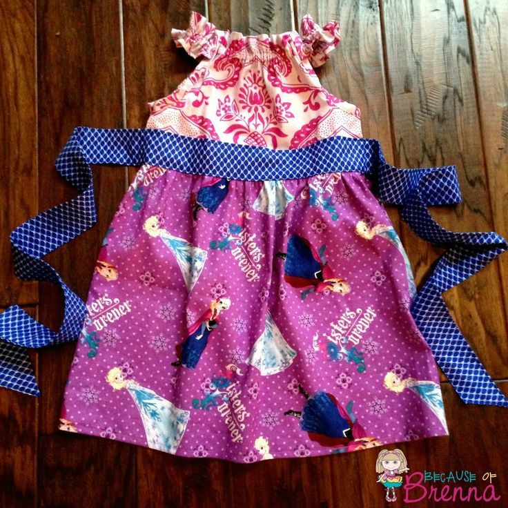 Wish I could find more of this Disney Frozen fabric! Dress by Because of Brenna using a Brownie Goose Pattern