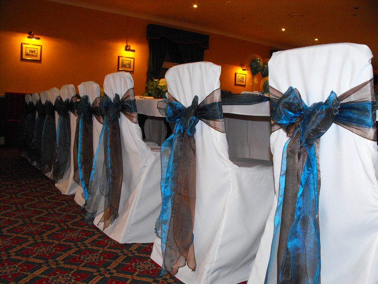 Double Teal and Chocolate Organza Bows on White Chair Covers