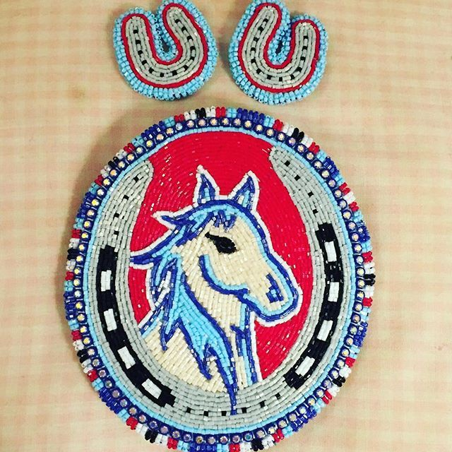 This barrette and earring set will be given to the other first place winner of Maleaha's graduation Rabbit Dance Special at Indiana University powwow! ❤️❤️ #beadwork #baldbeader #beadedhorse #horse