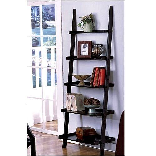 """Unique 72"""" High LEANING LADDER STYLE MAGAZINE / BOOK SHELF on Black Finish The Decor Collection http://www.amazon.com/dp/B000KK7Y3Q/ref=cm_sw_r_pi_dp_oiUiub1P8WFZ5"""