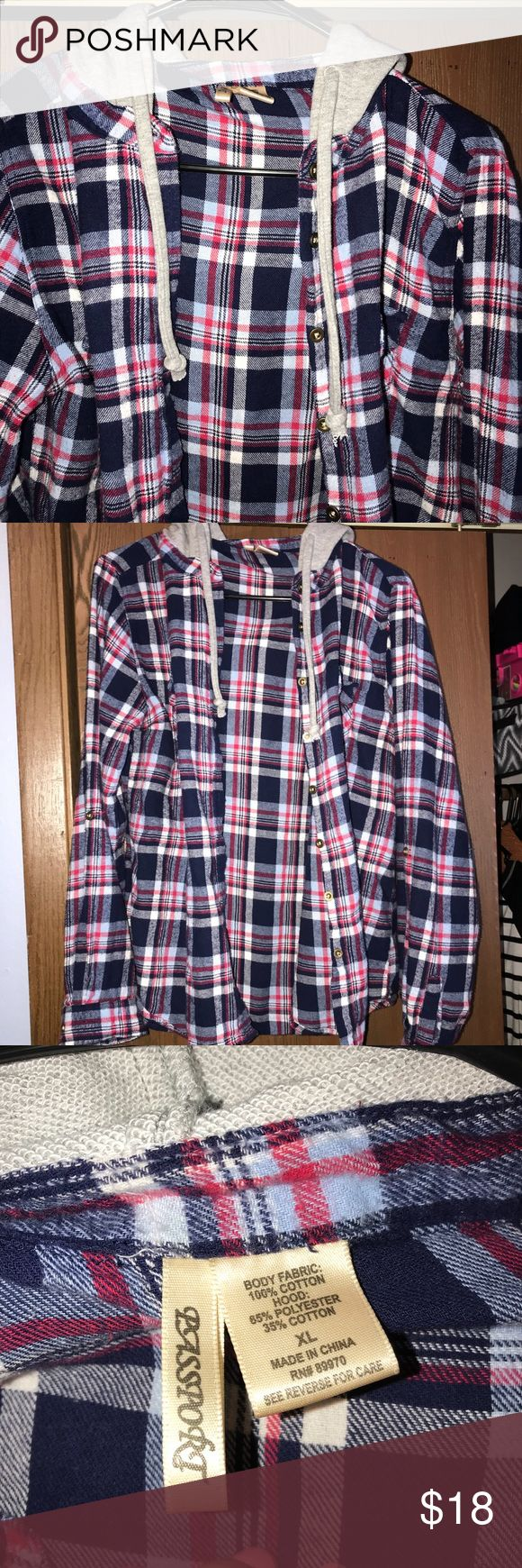 Plaid flannel w/ hood very cute plaid flannel. flannel material. grey hood with strings. in excellent condition Passport Tops Button Down Shirts