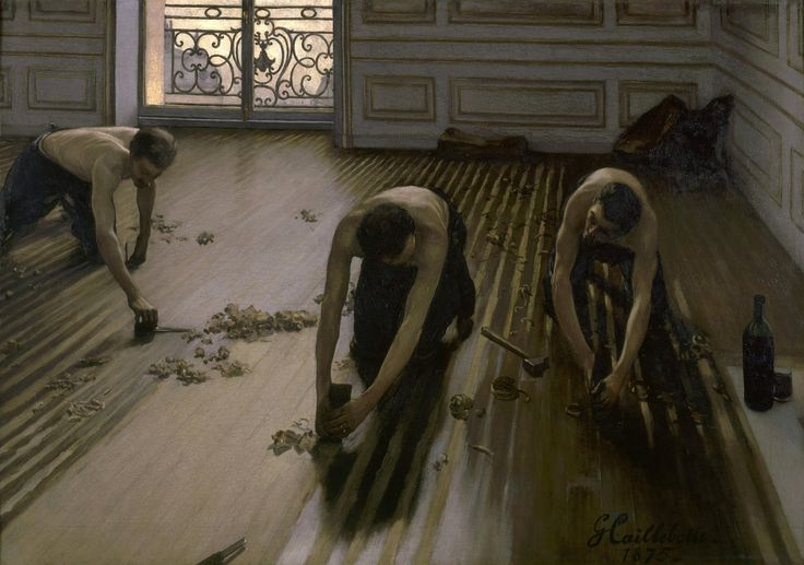"""The Floor Scrapers"" is an oil painting by French artist Gustave Caillebotte."