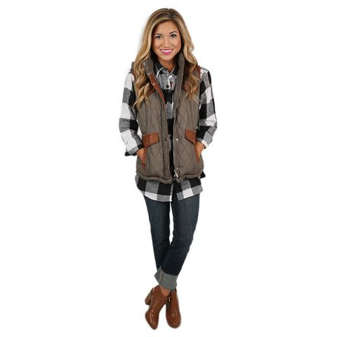 Fall is Calling Vest Olive | Impressions Online Women's Clothing Boutique