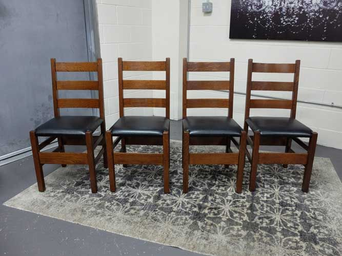 Antiques By Design Gustav Stickley Arts Crafts Oak Ladder Back Dining Chairs Antique Pinterest Chair And
