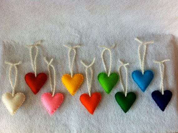 wool felt heart ornaments