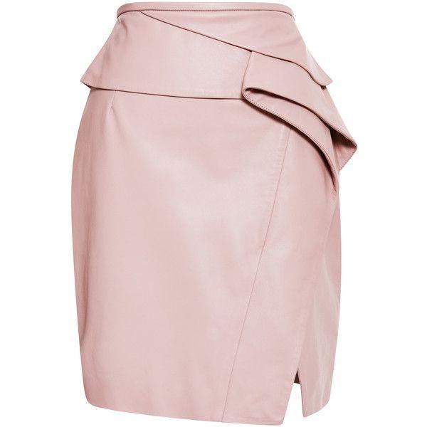 Elie Saab Blush Peplum Leather Skirt (89,080 THB) ❤ liked on Polyvore featuring skirts, bottoms, faldas, layered skirt, elie saab, pink skirt, leather skirt e pink leather skirt