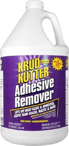 Krud Kutter AR01 Clear Adhesive Remover with Mild Odor, 1 Gallon by Krud Kutter. $25.27. Krud Kutter adhesive remover's water-based, biodegradable formula is a safe, effective alternative to hazardous, solvent-based adhesive removers. Krud Kutter adhesive remover removes most glues and adhesives, carpet seam sealer and mastic. Also removes dirt, grease, grime, heel marks and floor wax. Use after removing: tile, carpet, linoleum, laminate, wood and vinyl, flooring. Directions ...