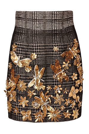 zo leuk die #gouden bloemen, vlinders en blaadjes op een geruite bruine #rok