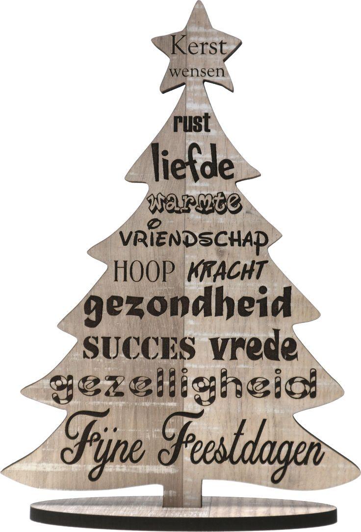 Originele houten wenskaart kerstkaart van hout kerst