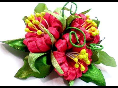 Kanzashi flower petals tutorial, how to make, Лепестки канзаши, DIY Kanzashi Tatiana Vasyliuk - YouTube