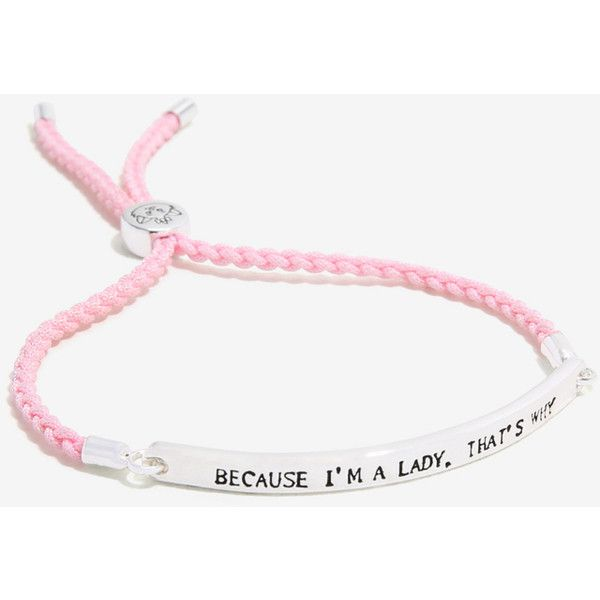 Disney The Aristocats I'm A Lady Cord Bracelet ($14) ❤ liked on Polyvore featuring jewelry, bracelets, rope bracelet, cat bangle, pink jewelry, adjustable bangles and adjustable cord bracelet