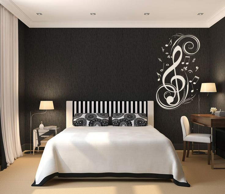 Teen Room, Black And White Theme Of Boys Bedroom Concept With White Tone Symbol Decoration Also