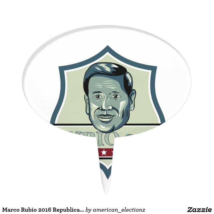 Marco Rubio 2016 Republican Candidate Cake Toppers. Illustration showing Marco Rubio, an American senator, politician and Republican 2016 presidential candidate set inside shield crest with words Rubio 2016 done in retro style. #Rubio2016 #republican #americanelections #elections #vote2016 #election2016
