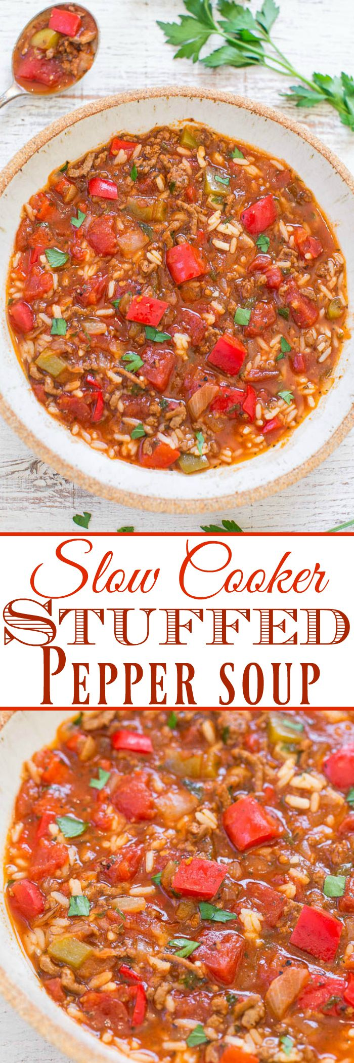 Slow Cooker Stuffed Pepper Soup - Stuffed peppers in HEARTY soup form and made in your SLOW COOKER!! Peppers, onions, ground beef, tomatoes, and rice in this EASY comfort food recipe!!