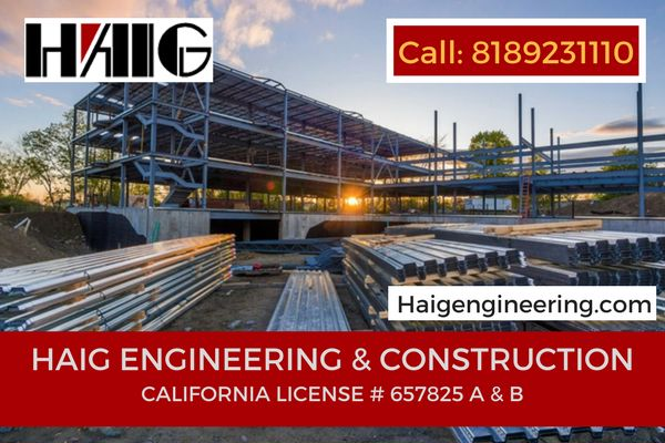 Welcome to Haig Engineering  & construction stands out among Civil Engineering Companies In California, providing commercial general contracting services on a range of projects. For more info call: 818-923-1110