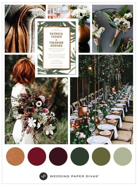 Take inspiration from Mother Nature and incorporate lush greenery, moody florals and copper tones in your wedding theme.