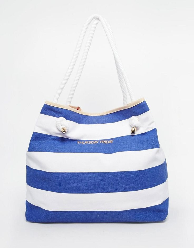 Thursday Friday | Парусиновая пляжная сумка в полоску Thursday Friday на ASOS