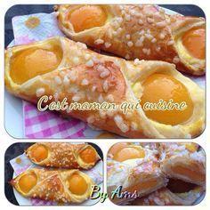 recette: pour 4 oranais: · 1 pâte feuilletée en bloc · oreillons d'abricots au sirop · crème pâtissière · 1 jaune d'oeuf · sucre en perles ou à défaut du sucre glace Étaler la pâte de sorte d avoir un rectangle Couper en 4 carrées Préparer la creme pâtissière...
