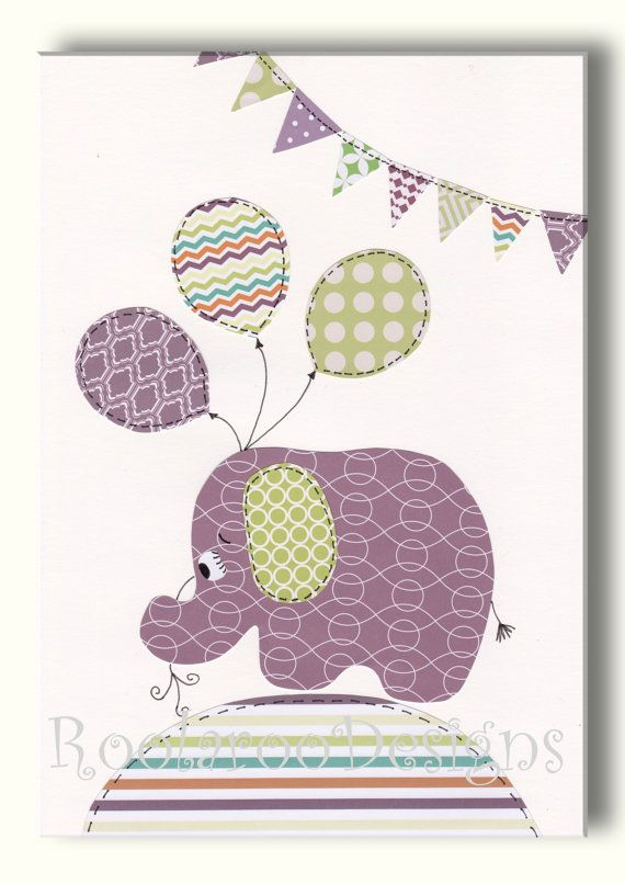 Girls Nursery Art - Baby Girl Nursery Decor, Elephant Nursery Art, Wall Art - Balloons - Bunting - Purple and Green Nursery Artwork - PRINT