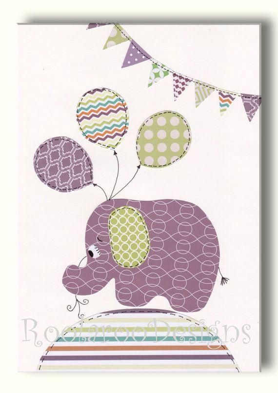 Girls Nursery Art - Baby Girl Nursery Decor, Elephant Nursery Art, Wall Art - Balloons - Bunting - Purple and Green Nursery Artwork - PRINT