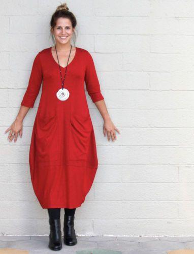 Alembika Rayon Knit Judy Kisim Dress Pocket Balloon Banded Hem Sz 3 M L Red   eBay