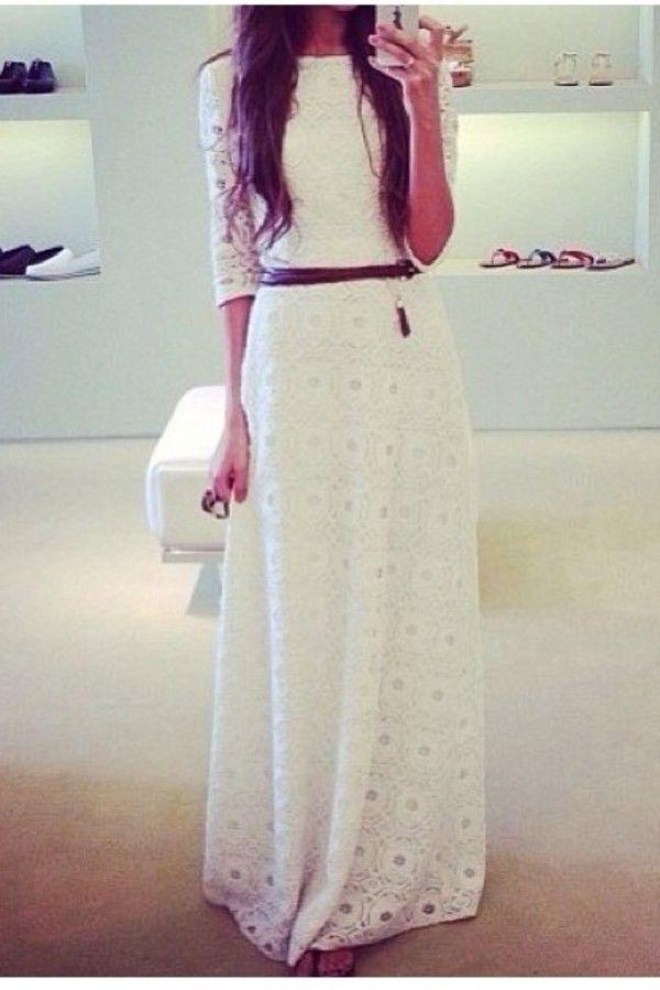 crochet lace maxi white