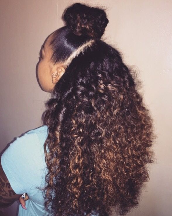 Buff Hairstyle Curly Hair Girls Rock Black Beauty Pretty High Bun Back Out Brown