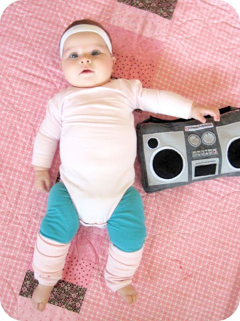 80s Baby  Put your baby in bright colors and leg warmers for this cute 80s look. The boom box definitely helps complete the look.   Check it out at Homemade by Jill.