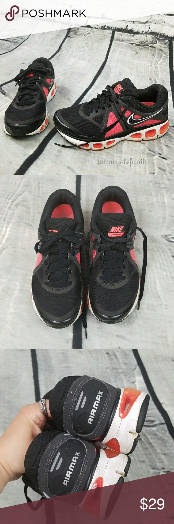 Nike Air Max Tailwind 4 Shoes 453975-060 size 8 Nike Air Max Tailwind 4 Shoes 453975-060 size 8 in great used condition from 2011. Minor scuffing from use. Black, pinkish red (salmon), and pink interior. Great sneakers for your workout!  Please let me know if you have any questions. Happy Poshing! nike Shoes Sneakers