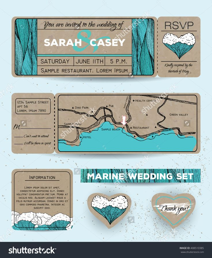 Marine Wedding Invitations: Marine Wedding Invitation Set With Rsvp Card. Ticket To A