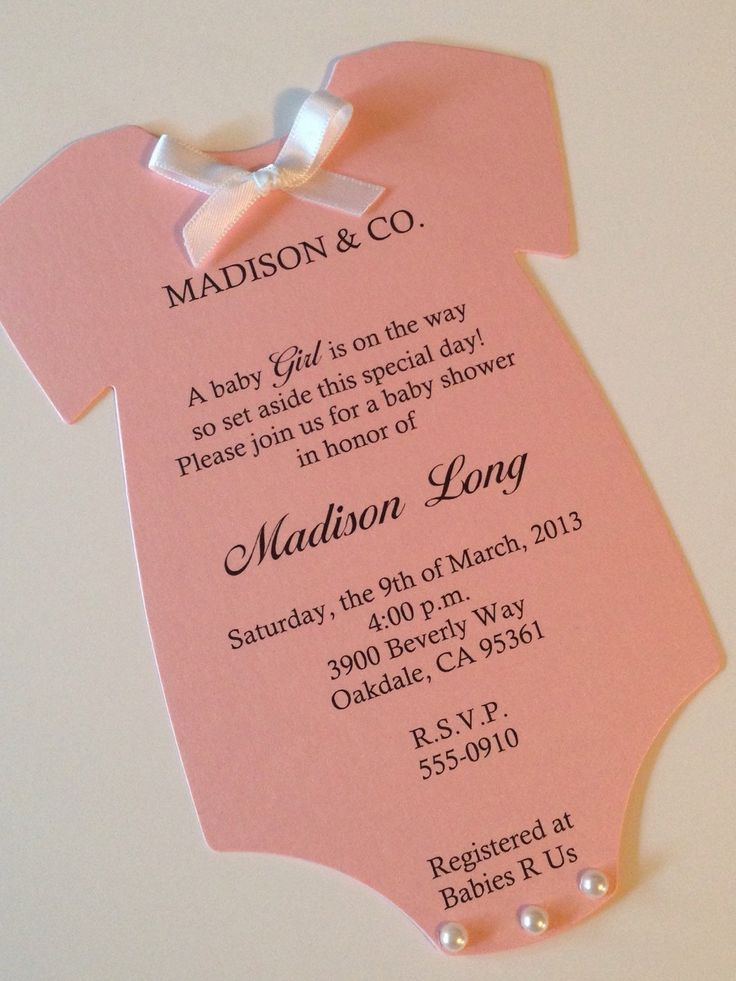 baby shower invitation for twins%0A Set of    Pearl Pink Onesie Baby Shower Invitations with Pearls and Ribbon  Pink Onesie by