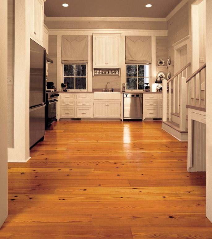 White Painted Wood Floor With Modern Cabinetry: Antique Reclaimed Heart Pine Solid Wood Flooring In A