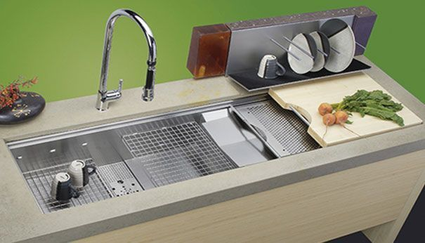 Stainless Steel Sink With Colander Cutting Board Dish Rack And