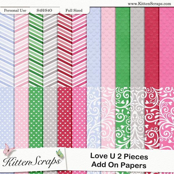 Love U 2 Pieces Add-On Papers  created by KittenScraps, Digital Scrapbooking