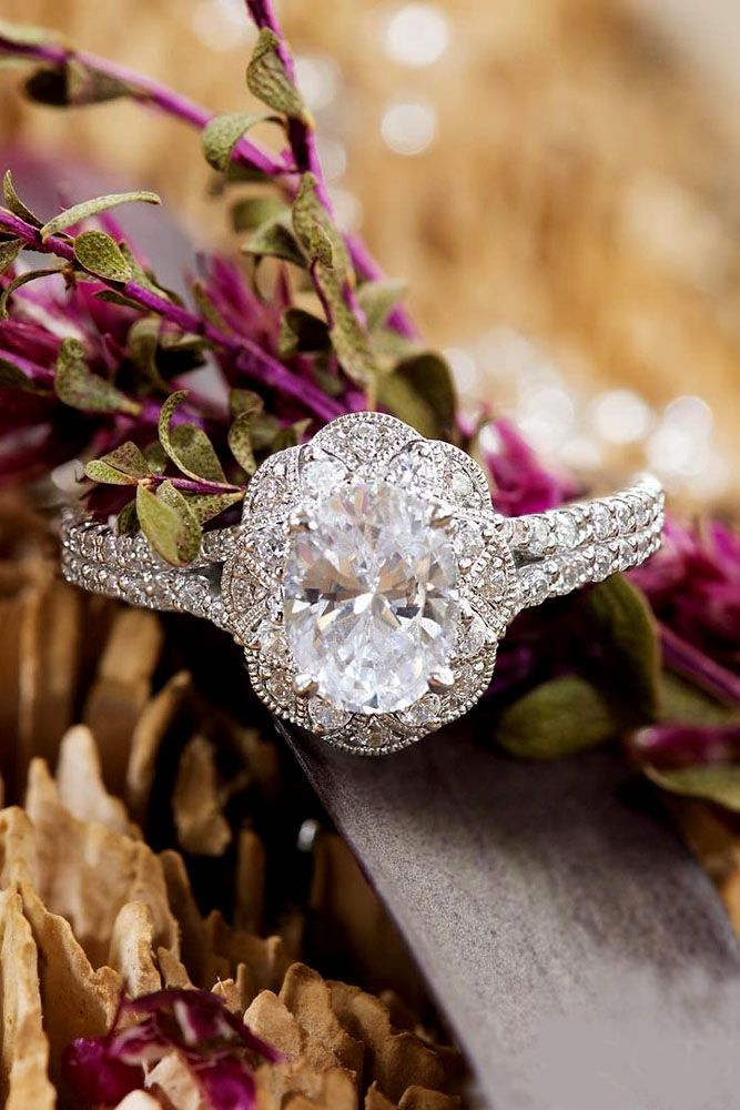 15 Gorgeous And Elegant Floral Engagement Rings ❤ floral engagement rings oval…