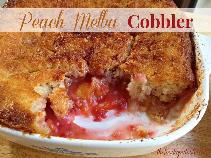 Enjoy this Peach Melba Cobbler with some vanilla ice cream! #dessert #fruit #recipe