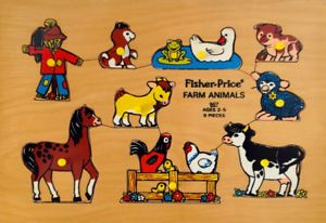 Vintage 1973. Collection. Casse-tête FISHER PRICE animaux