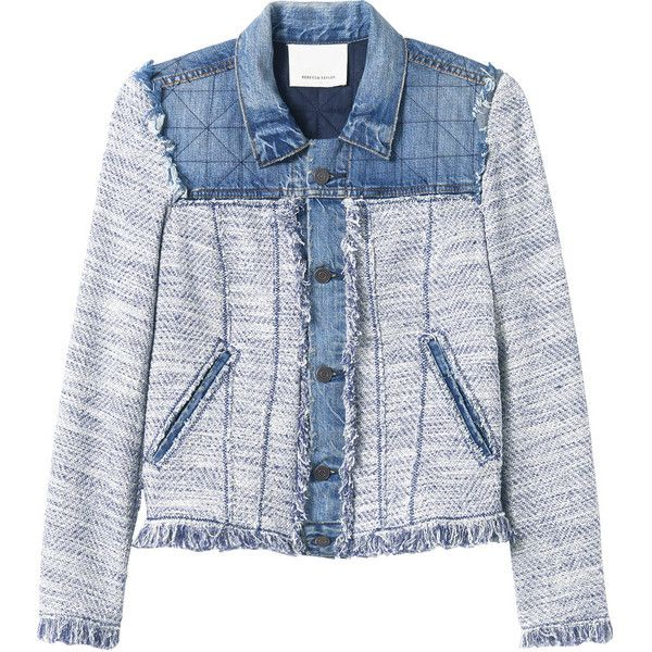 Rebecca Taylor Tweed & Denim Jacket (1,745 AED) ❤ liked on Polyvore featuring outerwear, jackets, blue combo, blue jean jacket, lined denim jacket, rebecca taylor, jean jacket and denim jacket