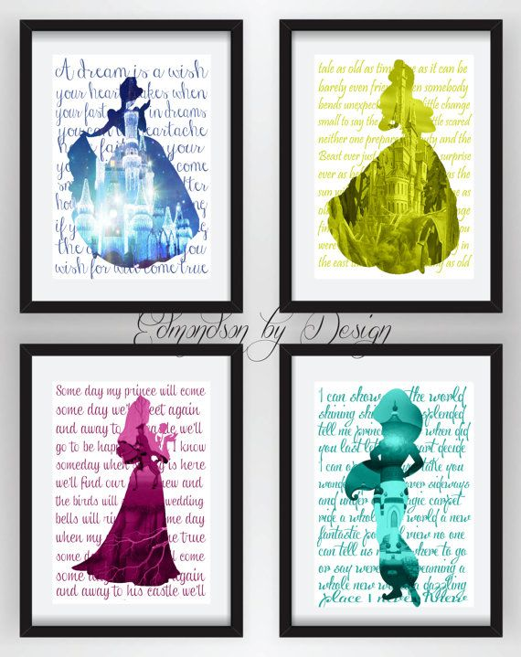 These are super cute!!  SALE 33 OFFDisney Princess Silhouette Art by EdmondsonbyDesign, $25.00